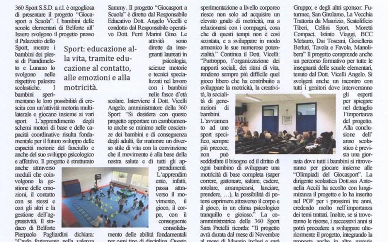 Articolo sul progetto «Giocasport a Scuola»