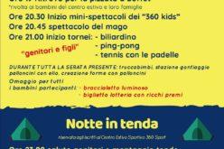 Pizza, magia, sport e tende: per i bambini del centro estivo sportivo di Morciano una festa lunga tutta la notte